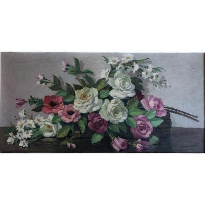 Paul Eschbach (1881-1961), Jeté De Fleurs, Roses, Marguerites Et Coquelicots, Huile Sur Toile