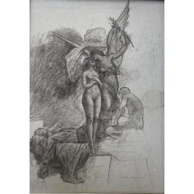 Camille Bellanger (1853-1923), Allégorie De La Victoire, Dessin Au Crayon