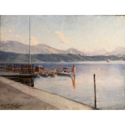 Joseph Clemens Kaufmann (1867-1926), Le Lac De Lucerne, Huile Sur Toile, 1895, Suisse