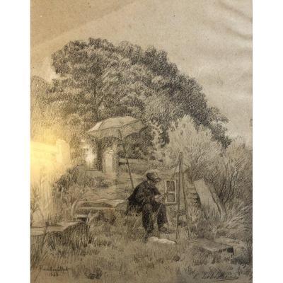 Léon Leblanc (1828-1900), Le Peintre En Plein Air à Rambouillet, Dessin 1863
