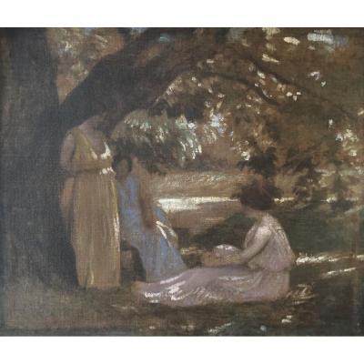 Ecole Symboliste Vers 1890, Trois Femmes Sous Un Arbre : La Discussion, Huile Sur Toile