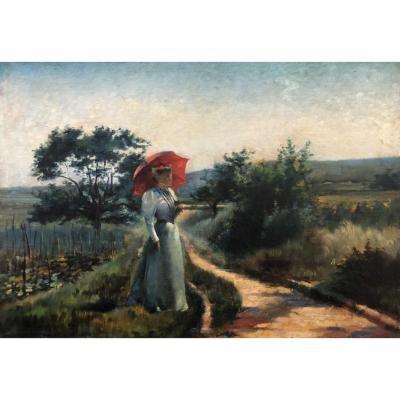 Emile Duray (né En 1862), Elégante Dans Un Paysage De Campagne, Huile Sur Toile, Signé