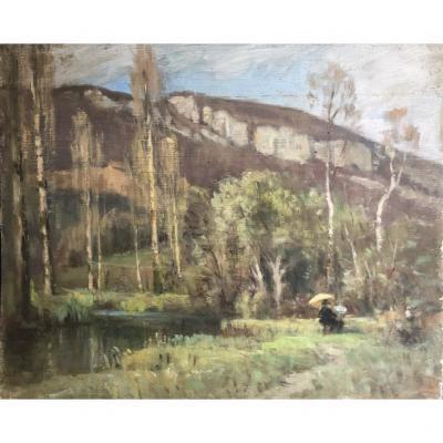 Ecole Française Vers 1900, Peintre Dans Un Paysage De Montagne, Huile Sur Panneau
