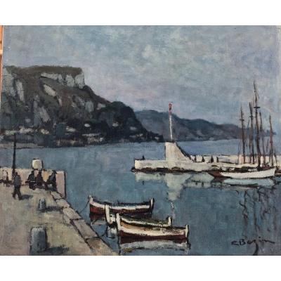 Victor Bazin (xxe), Bateaux Au Cap Ferrat, Bord De Mer, huile sur toile