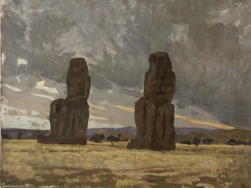 Henri Rapin (attr. To) (1873-1939), The Colossi Of Memnon, Landscape Of Egypt, Oil On Canvas-photo-4