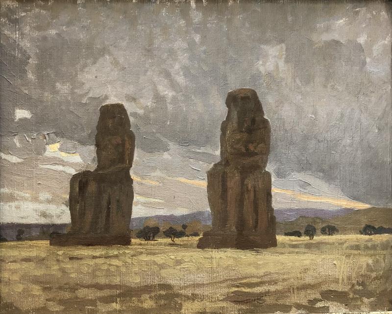 Henri Rapin (attr. To) (1873-1939), The Colossi Of Memnon, Landscape Of Egypt, Oil On Canvas-photo-2