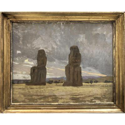 Henri Rapin (attr.à) (1873-1939), Les Colosses De Memnon, Paysage d'Egypte, Huile Sur Toile