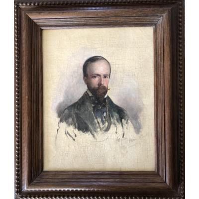 Ecole Française Du Milieu Du XIXe, Portrait De Charles Ferdinand Aussignac, Huile, Bordeaux