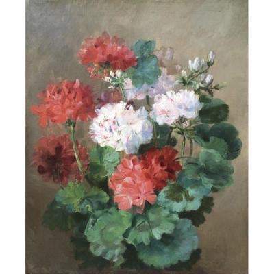 Attribué à Henri Eugène Cauchois (1850-1911), Bouquet De Géraniums, Fleurs, Huile Sur Toile