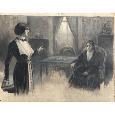 Jean-pierre Carré (1872-1947), Bordeaux, Esquisse En Grisaille Préparatoire: Projet De Théâtre