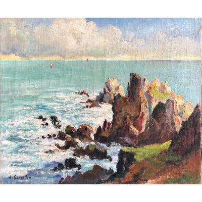 Adrien Garcelon (xxe), La Pointe De Van Dans Le Finistère, Bretagne, Huile, Paysage