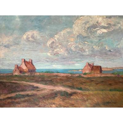 Jean Lubet (xxe), Paysage de bord de mer: la côte Bretonne Ou La côte d'Opale, Huile Sur Carton