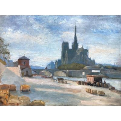 Ecole Française Vers 1900, Vue De Notre Dame De Paris Et Des Quais De Seine, Huile Sur Toile