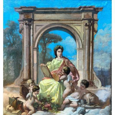 Ecole Française Vers 1860, Allégorie De La Peinture, Huile Sur Papier Marouflée Sur Carton
