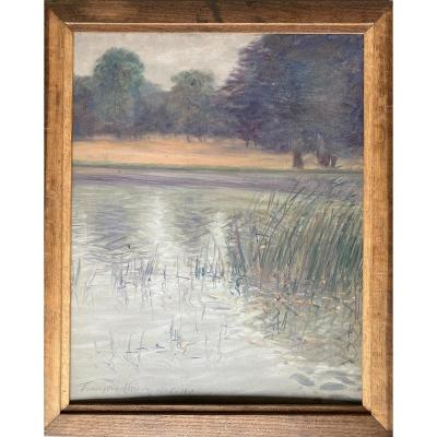François Moreau (né à Fouchambault ), Paysage Aux Arbres Au Bord De l'étang, Huile, symbolisme