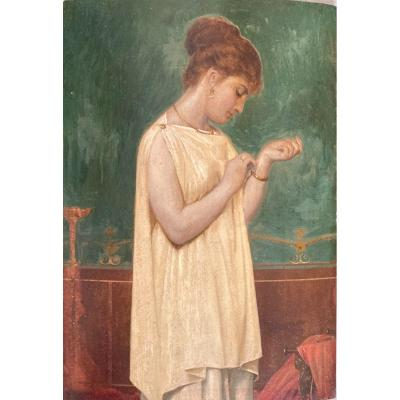 Attribué à Louis Hector Leroux, Portrait De Femme Vêtue à l'Antique Dans Un Intérieur Pompéien