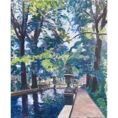 Gustave Assire (né En 1870), La Fontaine Médicis Au Jardin Du Luxembourg, Paris, Huile Toile