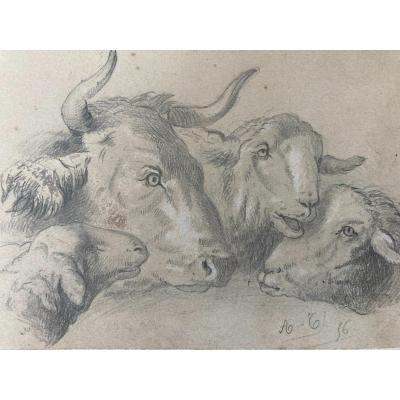 Alexandre Calame (1810-1864), Set Of Three Pencil Drawings: Animal Studies, 1856