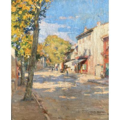 Charles Martin-sauvaigo (1881-1970, Rue animée dans un village du Sud : Paysage, Huile, Nice?