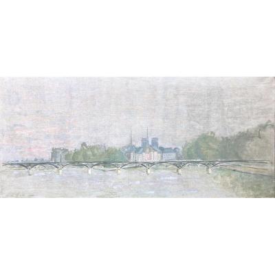 Jean Helleu (1894-1985) Attribué à, Vue De l'île De La Cité Et De Notre-dame De Paris, Huile