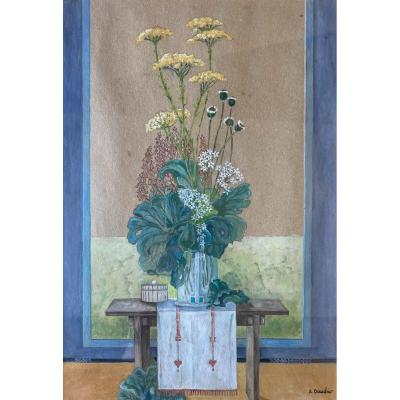 A.daudier (xxe), Japanese Floral Composition, Gouache On Paper, Drawing