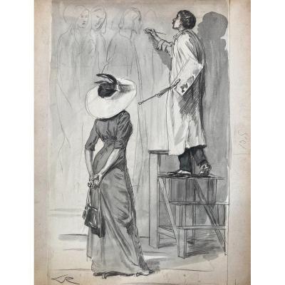 Alméry Lobel-riche (1877-1950), Le Peintre Et Son Admiratrice, Dessin Encre Et Aquarelle