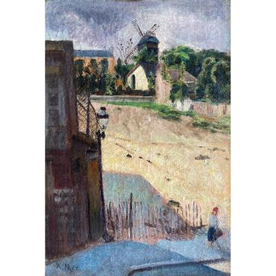 Alphie Iker (né à Paris - XXe Siècle), Moulin à Montmartre, Paris, Huile Sur Toile