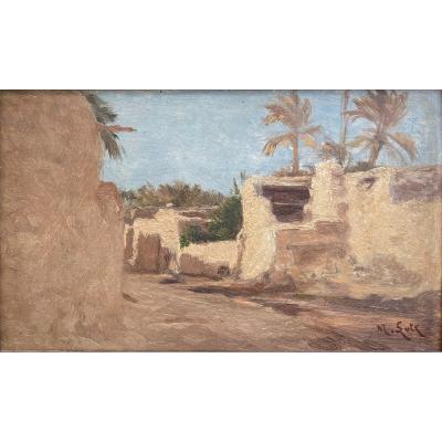 Matilda Lotz (américaine - 1858-1923), Paysage Orientaliste : Médina En Algérie?, Huile