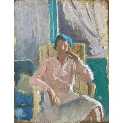 Jacques Salomon (1885-1985), Portrait De Femme Accoudée Sur Un Fauteuil, esquisse Huile Sur Carton