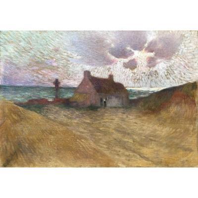 Ecole Française Vers 1900, Paysage Breton Animé, Bord De Mer, Huile Sur Toile
