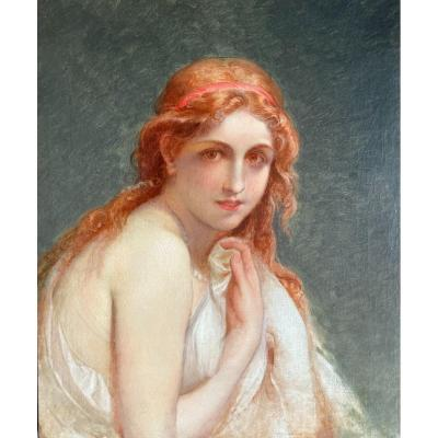 Ecole Française Vers 1870, Portrait De Jeune Femme Rousse Au Collier De Perle, Huile Sur Toile