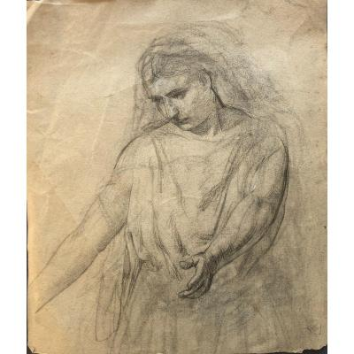 William Bouguereau (attr. To), Woman Stretching Out Her Arms, Drawing, Sketch, Pencil And Highlights