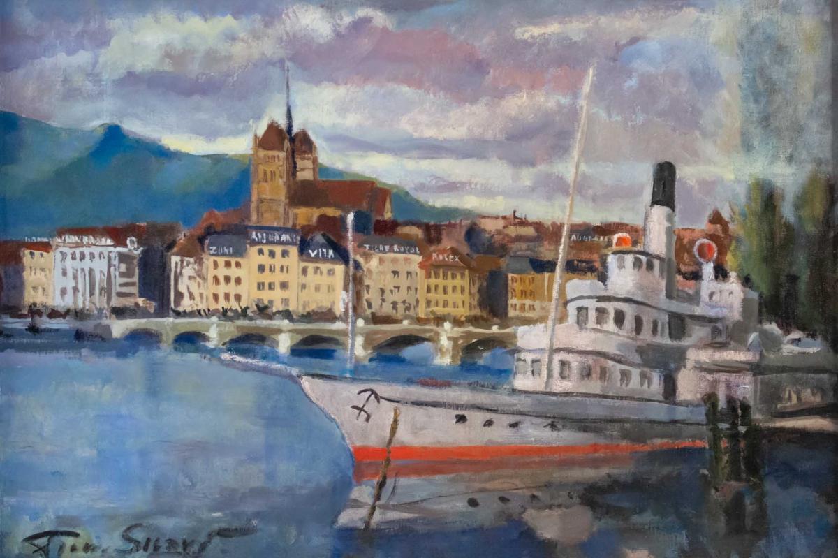 Sicard Pierre (paris 1900, 1980) French- View Of Geneva.-photo-2