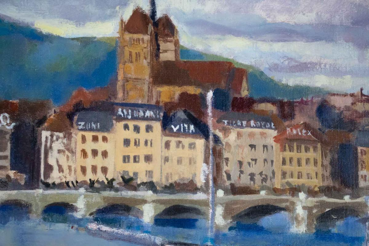 Sicard Pierre (paris 1900, 1980) French- View Of Geneva.-photo-4
