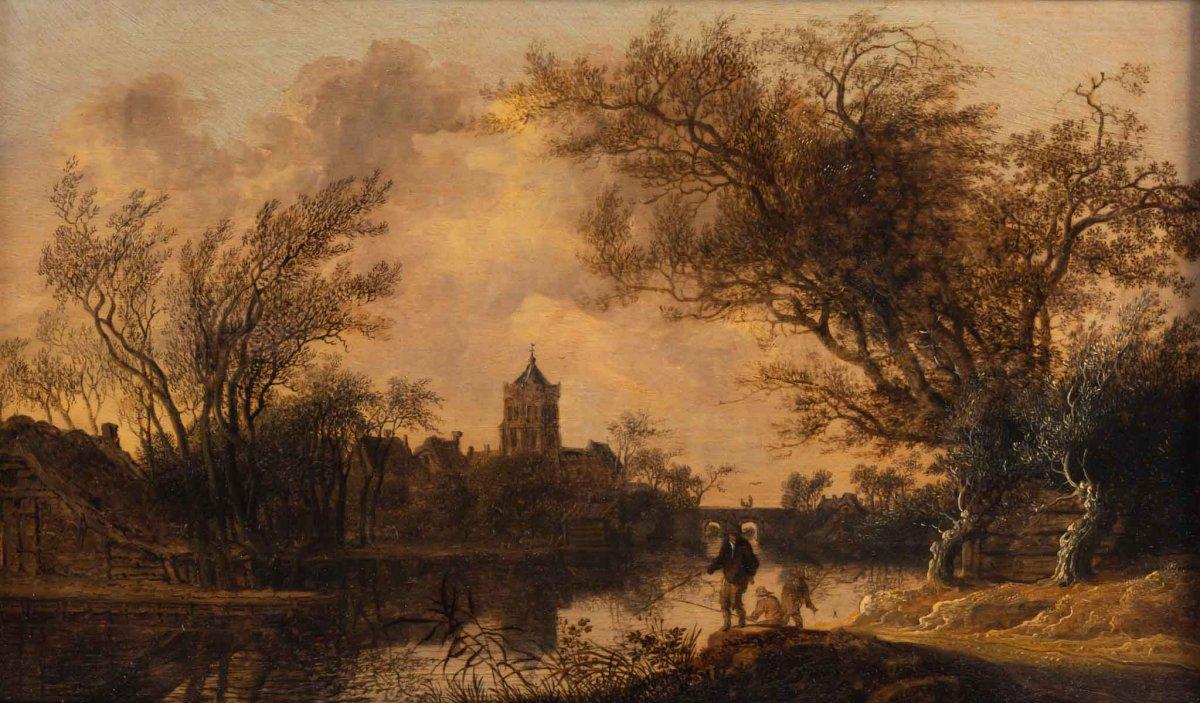 Anthony Jansz Van der Croos (1606, 1662)-  Les pêcheurs à l'orée d'un bourg- daté 1654.