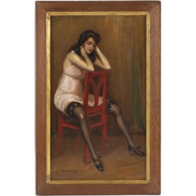 Georges Michelet (1873, ?) Français -  La Chaise Rouge, Daté 1916
