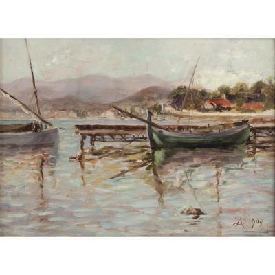 ECOLE FRANCAISE- Monogrammée A.S et datée 1907- Marine.