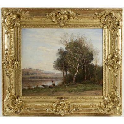 Louis-Aimé JAPY  (1840 – 1916 )«Au bord de l'étang de Ville-d'Avray», vers 1890