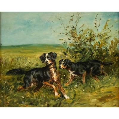 Charles Olivier De Penne (paris, 1831 - Marlotte, 1897) - Hunting Dogs.