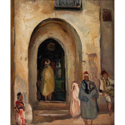Fernand Allard l' Olivier (attrib.)( 1883, 1933)- Scène de rue Tunis -circa 1920.