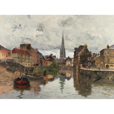 Frank Myers BOGGS ( 1855 –1926) - Harfleur, Vue du Quai de La Douane- Circa 1885.