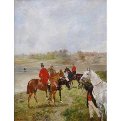 BROWN John, Lewis (Bordeaux 1829, Paris 1890)- Bat-l'eau, scène de chasse à courre.