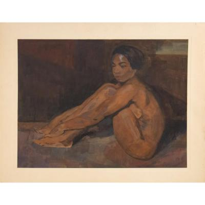 "Iwan Cerf (ivan Cerf) (1883 - 1963) Belgian - ""naked Indo-chinese Woman Sitting. », Dated 1929"