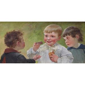 children&#39;s snack<br /> <br /> Gouache watercolor.<br /> Dimensions: 15 x 29.5 cm, with frame: 35 x 49 cm.<br /> <br /> We find the two children on the right of our gouache in the painting by<br /> Salon of 1885 &quot;Le Lavabo at the nursery school&quot; reproduced p102 of the book<br /> &quot;Henry, Jules, Jean Geoffroy dit G&eacute;o 1853 -1924&quot; by Maryse Aleksandrowski.<br /> <br /> H.J.J. Geoffroy made a name for himself by painting children.<br /> This painter and watercolorist started at the Salon in 1874.<br /> He was able to translate the naive charm with great tenderness and delicacy<br /> of these.<br /> <br /> Museums: Paris (Le Louvre), Amiens, Bayeux, Birmingham, Cambrai, Mulhouse,<br /> Rochefort, Saintes, Tourcoing, Trieste.