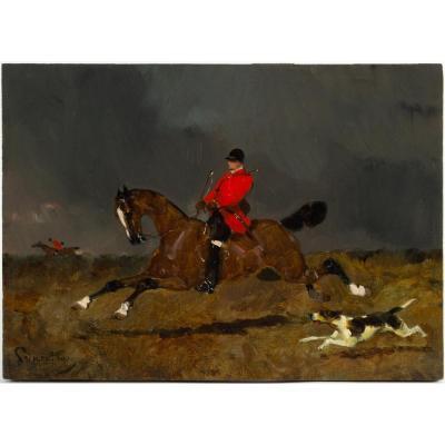 René Princeteau (1843, 1914) French - Hunting Scene.
