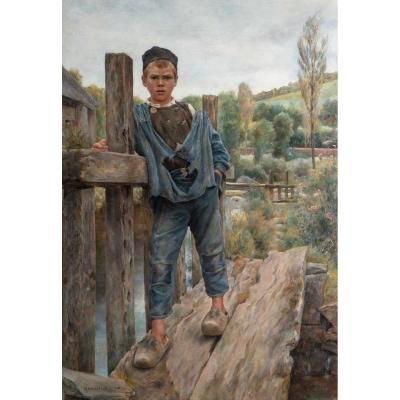 Christian DE MARINITSCH (1868-1954)- Jeune breton sur un ponton de moulin -Pont Aven .