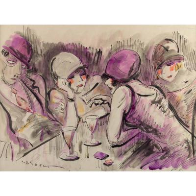 ELLER (Lucien Roudier dit) ( 1894 – 1940) peintre des années folles-Scène de bar des années 20.
