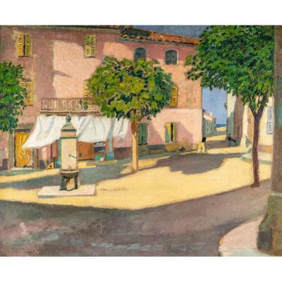 Guillaume ROGER  (1867, 1943) français-  La place ensoleillée à Saint Tropez- Circa 1910-1920