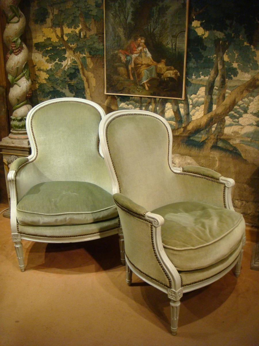 Pair Of Bergeres Lacquered Wood - Louis XVI