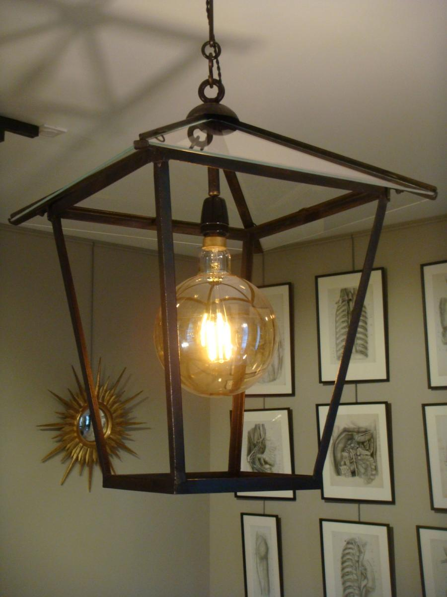 Wrought Iron Vestibule Lantern - Early 20th Century